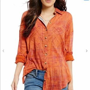 Free People Shore Vibes Button Front Shirt